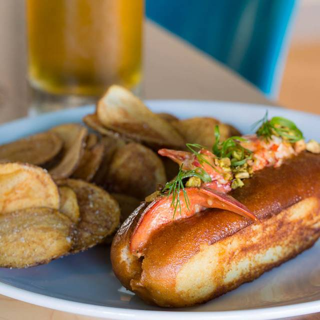 Hot Lobster Roll and Handmade Chips at Chair 5. - Chair 5 at Break Hotel, Narragansett, RI