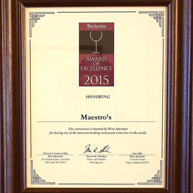 Award of Excellence - Maestro's at McGregor, Gansevoort, NY