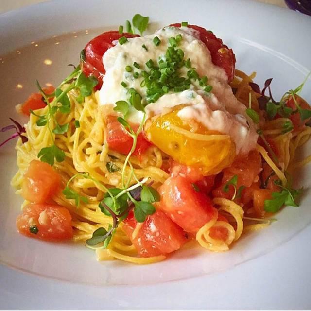 House-made spaghetti w/ heirloom tomato confit - Lucca Ristorante, Pittsburgh, PA