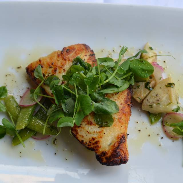 Wild Alaskan Halibut With Baby Artichokes, Peas And Lemon Oil - Cafe Lurcat - Minneapolis, Minneapolis, MN