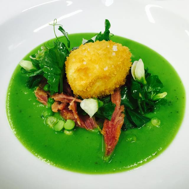Crisp Cacklebean Egg  Pea Salad Honey Roasted Ham Hock  Pea Shoots - The Kingham Plough, Chipping Norton, Oxfordshire