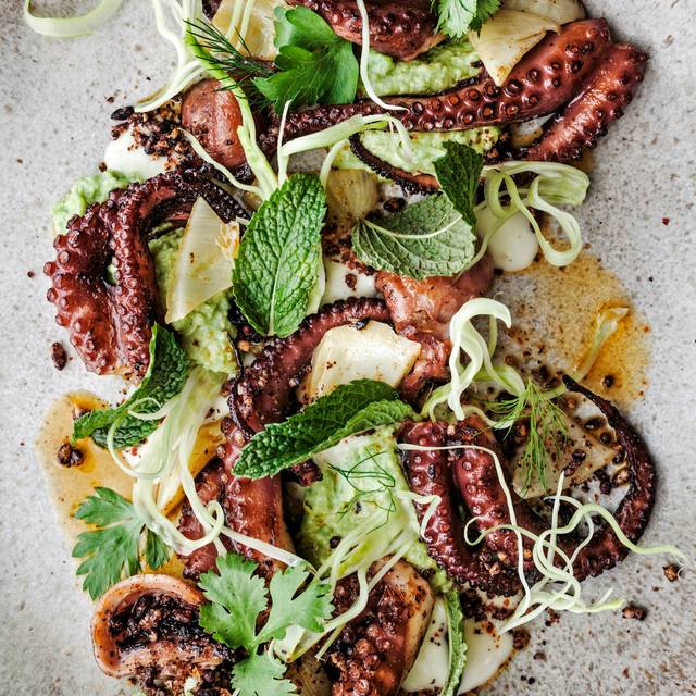 Grilled Spanish Octopus, Shell Bean Hummus, Shaved Fennel, Toasted Black Rice & Preserved Lemon-ed Anderson - The Progress, San Francisco, CA