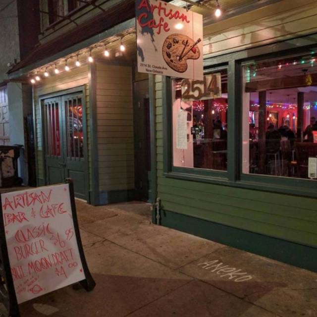 Artisan Bar And Cafe Menu New Orleans
