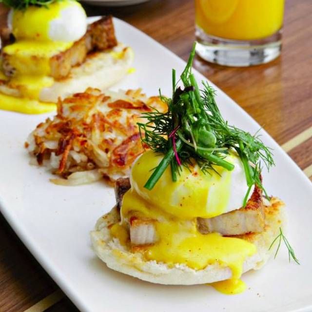 Pork Belly Benedict - Spoke & Steele, Indianapolis, IN