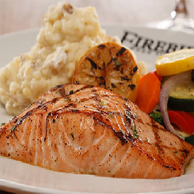 Wood Grilled Salmon - Firebirds Wood Fired Grill - Overland Park, Overland Park, KS