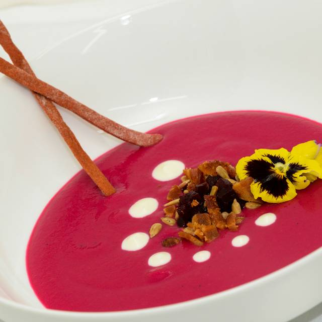 Chilled Beet Soup, Bacon, Roasted Beets, Creme Fraiche, Lavash - Newman's Restaurant, Saluda, NC