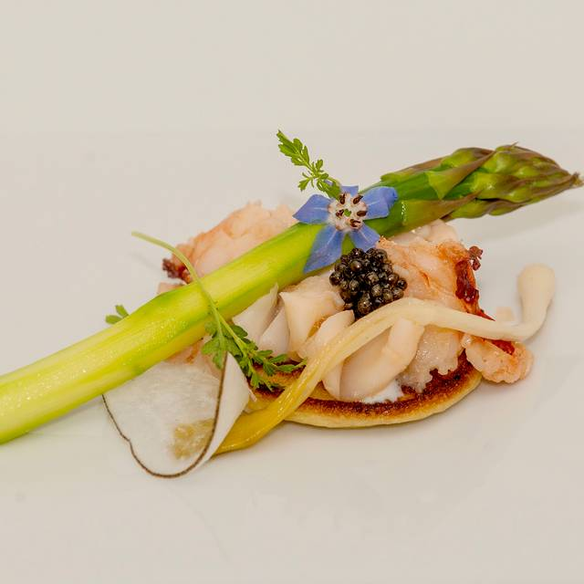 Poached Lobster, Osetra Caviar, Creme Fraiche, Asparagus, Radish, Yukon Potato Blini, Ramps, Borage Low Res - Newman's Restaurant, Saluda, NC