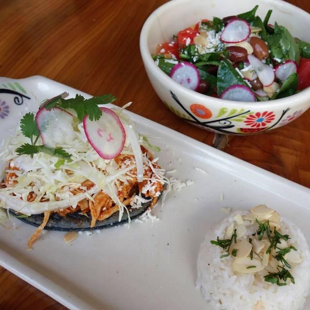 blue corn, black beans, chicken adobo, radish - The Fruteria, San Antonio, TX