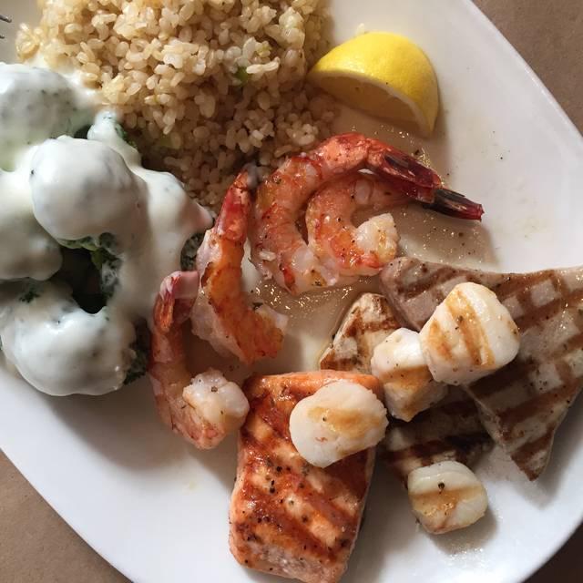 Grilled Assortment Scallops, Shrimp, Fish - Legal Sea Foods - Framingham, Framingham, MA