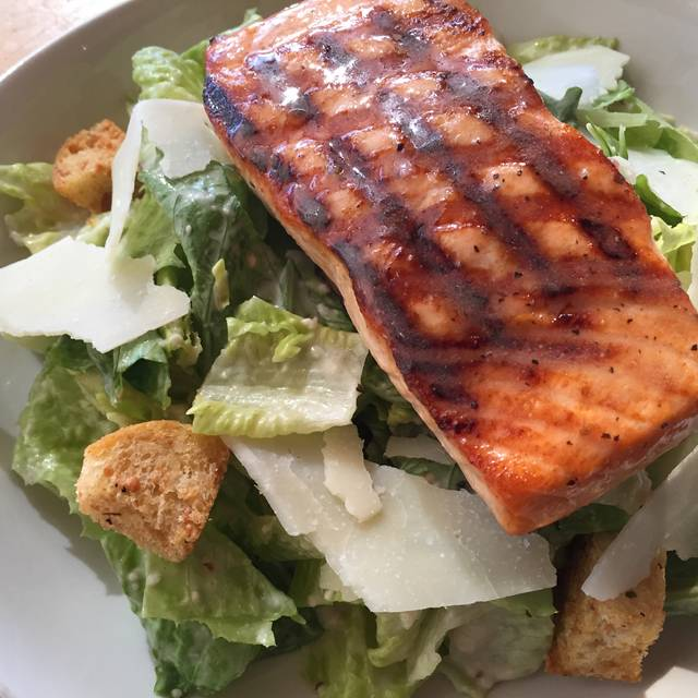 Caesar Salad With Grilled Salmon - Legal Sea Foods - Park Square, Boston, MA