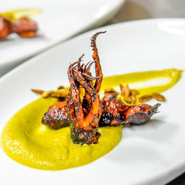 Deep-fried-squid-with-squid-based-zucchini-sauce-and-roasted-pumpkin-seeds - HiR Fine Dining, Pinilla, Guanacaste