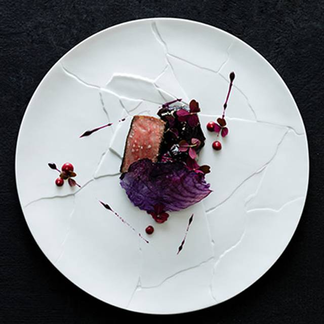 Miyazaki Wagyu Beef Strip Loin Barbecued With Dulse Red Cabbage Slaw Oxalis Horseradish Pepper Berry Emulsion - Amber, Hong Kong, Hong Kong