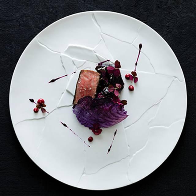 Miyazaki Wagyu Beef Strip Loin Barbecued With Dulse Red Cabbage Slaw Oxalis Horseradish Pepper Berry Emulsion - Amber, Hong Kong, Hong Kong