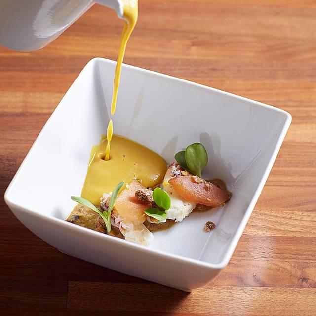 Blue Hubbard Squash Soup - Quince, Pistachio, Crab, Frilly Mustard - MKT Restaurant and Bar, San Francisco, CA
