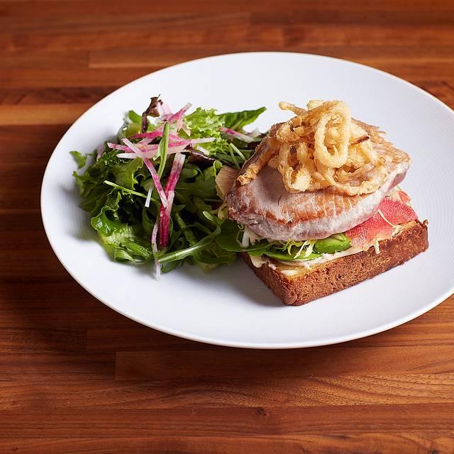 Open Faced Ahi Tuna Sandwich - Watercress, Avocado, Spicy Aioli, Crisp Shallot, Pickles - MKT Restaurant and Bar, San Francisco, CA