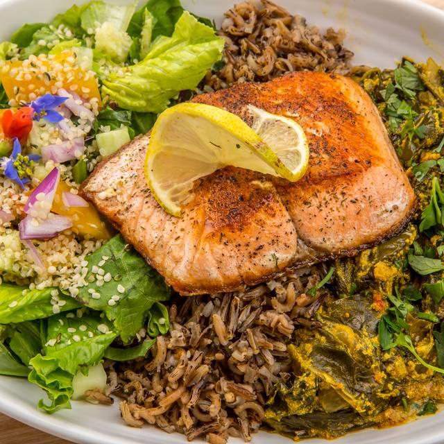 Egousi With Salmon - Rawtopia Living Cuisine and Beyond, Millcreek, UT