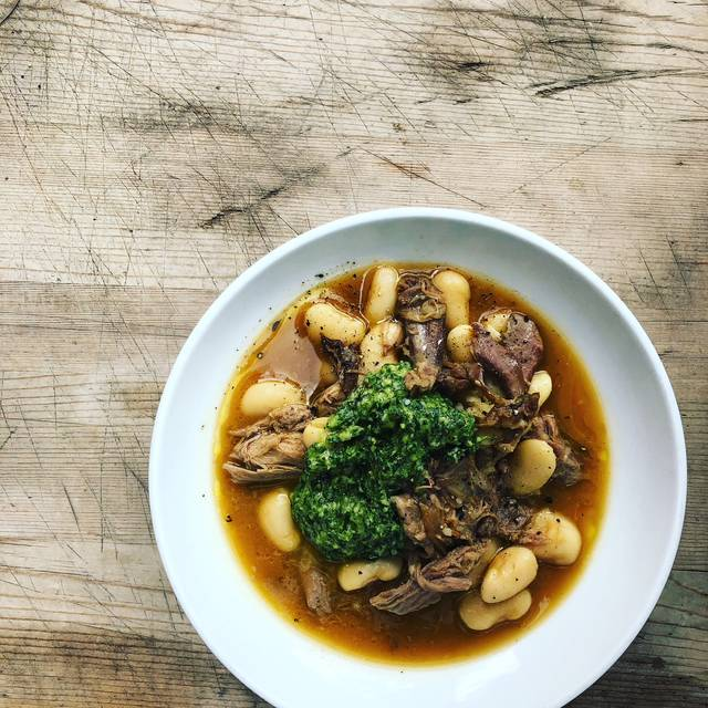 Slow Cooked Lamb Shoulder, Butter Beans, Green Sauce - Rawduck, London