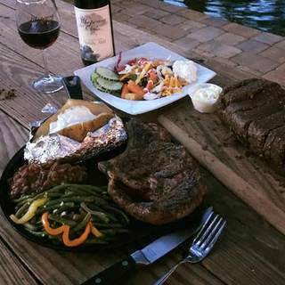 Whispering Oaks Winery , Steak Night